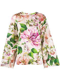 Dolce & Gabbana блузка с расклешенными рукавами и цветочным принтом