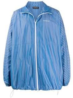 Balenciaga легкая куртка в полоску с логотипом