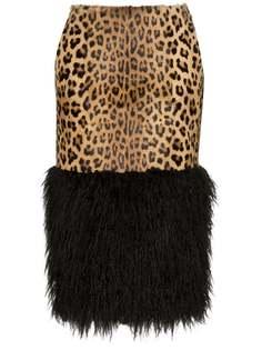 Saint Laurent леопардовая юбка-карандаш