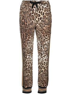 Dolce & Gabbana спортивные брюки с леопардовым принтом и логотипом