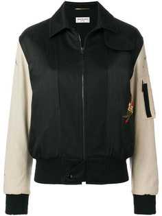 Saint Laurent куртка-бомбер с вышивкой