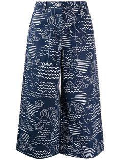 Kenzo укороченные брюки с принтом