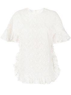 Giambattista Valli блузка с цветочной вышивкой