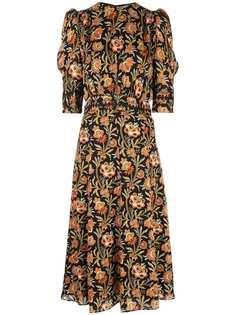 Derek Lam платье миди с пышными рукавами и цветочным принтом