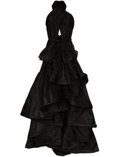 Oscar de la Renta вечернее платье с вырезом халтер и оборками