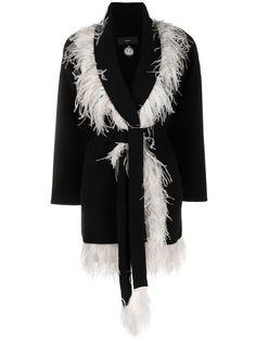 Alanui пальто-кардиган тонкой вязки с контрастной окантовкой