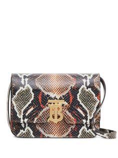 Burberry маленькая сумка на плечо TB с принтом кожи питона