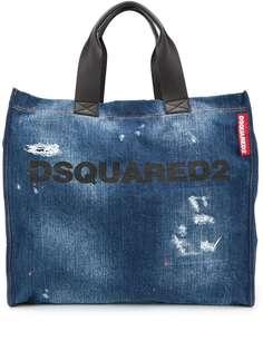 Dsquared2 джинсовая сумка-тоут с эффектом потертости