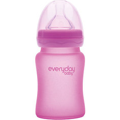 Стеклянная бутылочка с индикатором температуры EveryDay Baby 150 мл, розовая