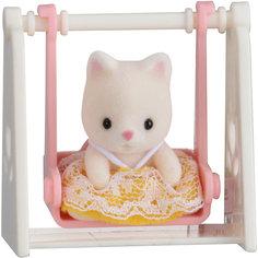 """Набор """"Младенец в пластиковом сундучке """" (кошка на качелях), Sylvanian Families Эпоха Чудес"""