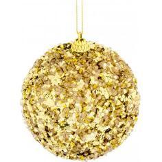 Шар ёлочный, 9.8 см, пластик, цвет золото
