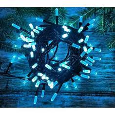 Электрогирлянда светодиодная «Кристаллы» для улицы 100 ламп, цвет голубой
