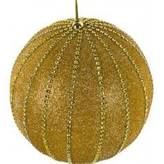 Шар ёлочный, 20 см, пластик, цвет золотистый