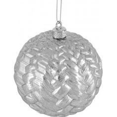 Шар ёлочный, 9.8 см, пластик, цвет серебро