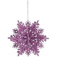 Украшение новогоднее «Снежинка Классика», 4 см, пластик, цвет розовый