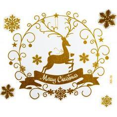 Наклейка «Рождественский олень» 72x54 см