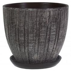Горшок цветочный «Меланж» серый 4.8 л 220 мм, керамика, с поддоном