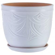 Горшок цветочный «Узоры» белый 7.9 л 245 мм, керамика, с поддоном