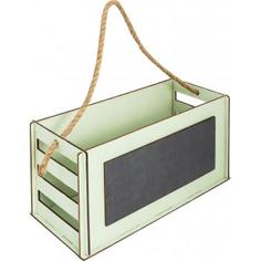 Кашпо-ящик с грифельной доской, 270х130х115 мм, дерево, цвет оливковый