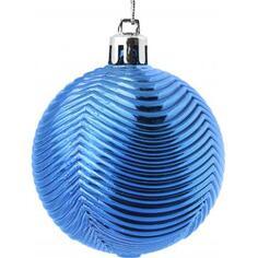 Набор ёлочных шаров 6 см, цвет синий, 6 шт.