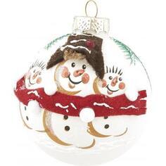Шар ёлочный «Снеговичок в шарфе», 8.5 см, стекло, цвет белый