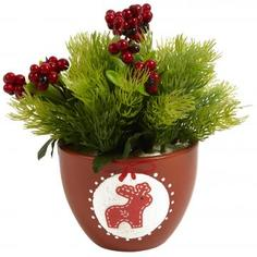 Горшок с искусственным растением «Олень коричневый»