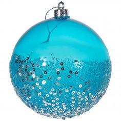 Шар ёлочный «С блёстками» 10 см, цвет синий