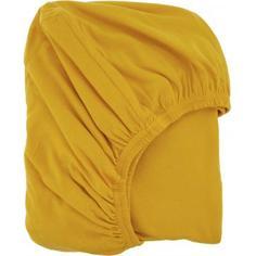 Простыня двуспальная, 180x200 см, трикотаж, цвет жёлтый