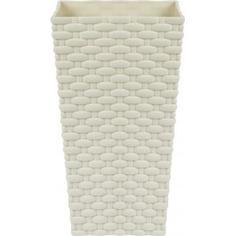 Горшок цветочный «Ротанг» белый 140 мм, пластик Idea