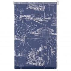 Штора рулонная «Город» 140х175 см цвет тёмно-синий