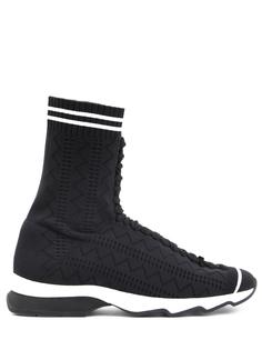 Высокие кроссовки из текстиля 8t6515 Черный Белый Fendi