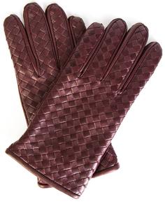 Кожаные перчатки 356651 Бордовый Bottega Veneta