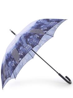 Зонт-трость с принтом 16663/синий,серый Pollini