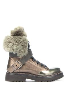 Кожаные ботинки с мехом Brunello Cucinelli
