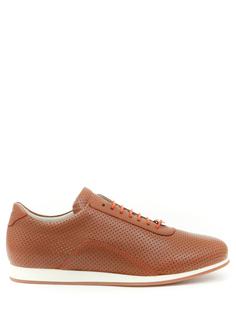 Кожаные кроссовки с перфорацией SO1026/ Рыжий Hettabretz