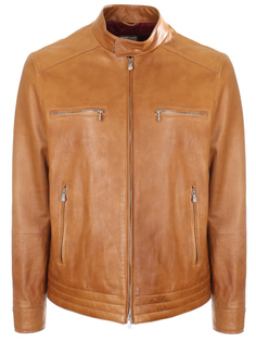 Куртка кожаная коричневая Brunello Cucinelli