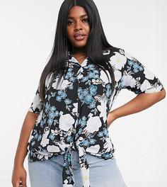 Блузка с цветочным принтом и плиссировкой Lovedrobe-Черный