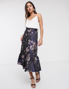 Юбка миди с цветочным принтом и асимметричной кромкой Closet-Мульти