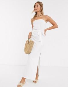 Белое платье-бандо макси с поясом ASOS DESIGN-Белый