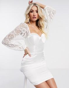 Кремовое платье с вырезом сердечком и объемными рукавами Rare London-Кремовый