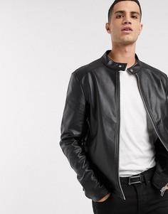 Черная куртка из искусственной кожи ASOS DESIGN-Черный