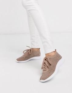 Розовые трикотажные кроссовки с отделкой Miss KG-Бежевый