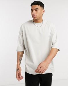 Бежевая oversized-футболка из плотного материала ASOS DESIGN-Бежевый
