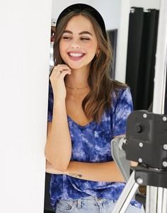 Синяя футболка с пальмовым принтом Hollister-Синий