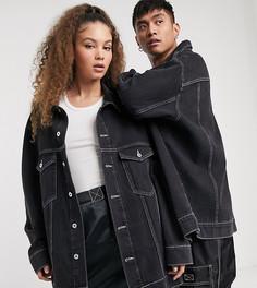 Черная джинсовая куртка oversized с логотипом COLLUSION Unisex-Черный