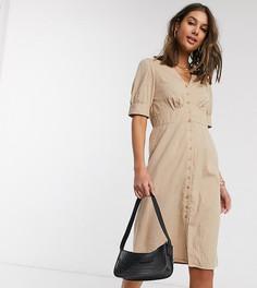 Бежевое платье миди с пышными рукавами Vero Moda Tall-Бежевый
