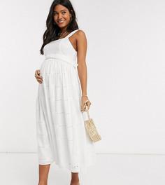 Белый сарафан миди с вышивкой ришелье и поясом ASOS DESIGN Maternity