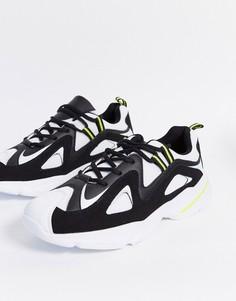 Черно-белые кроссовки на массивной подошве в стиле ретро Brave Soul-Белый