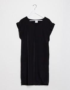 Черное платье с оборками на рукавах Vila-Черный