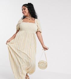 Платье макси в полоску с присборенным лифом и пышными рукавами ASOS DESIGN Curve-Мульти